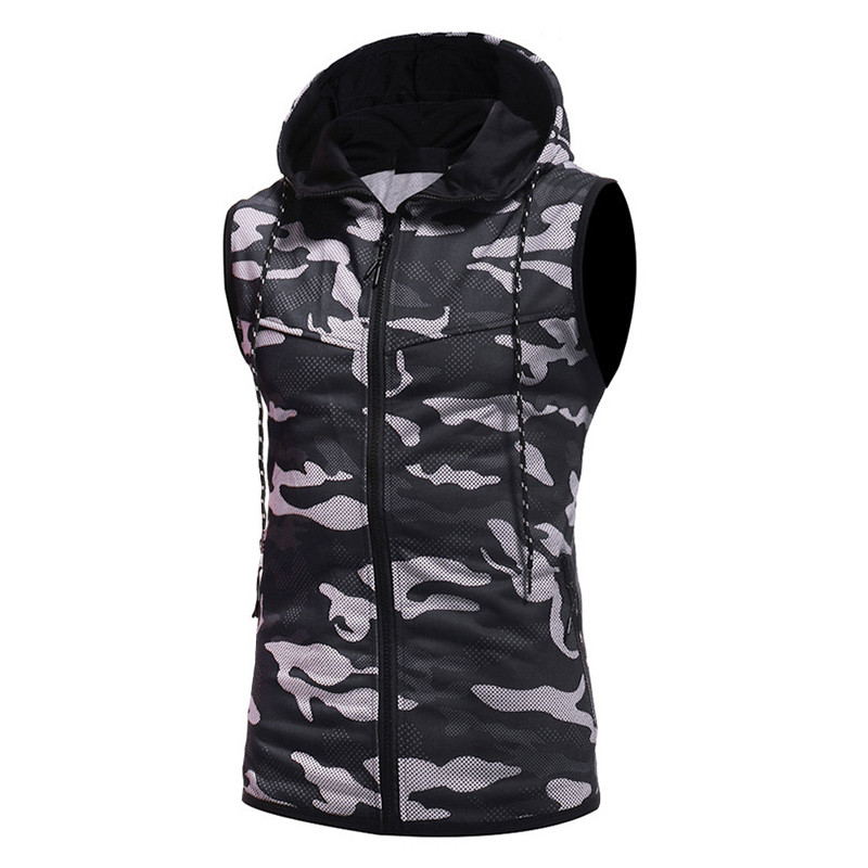 Mens Camo Printed Slim Casual Tank Tops