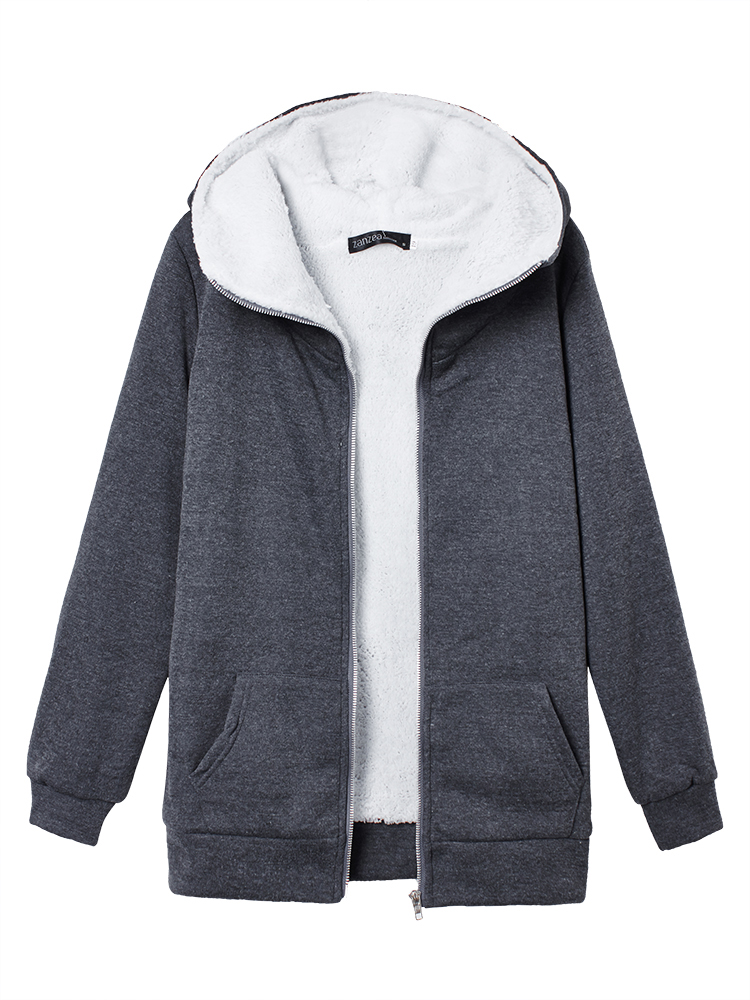 S-4XL Women Fleece Hoodie Outwear Thicken Coat