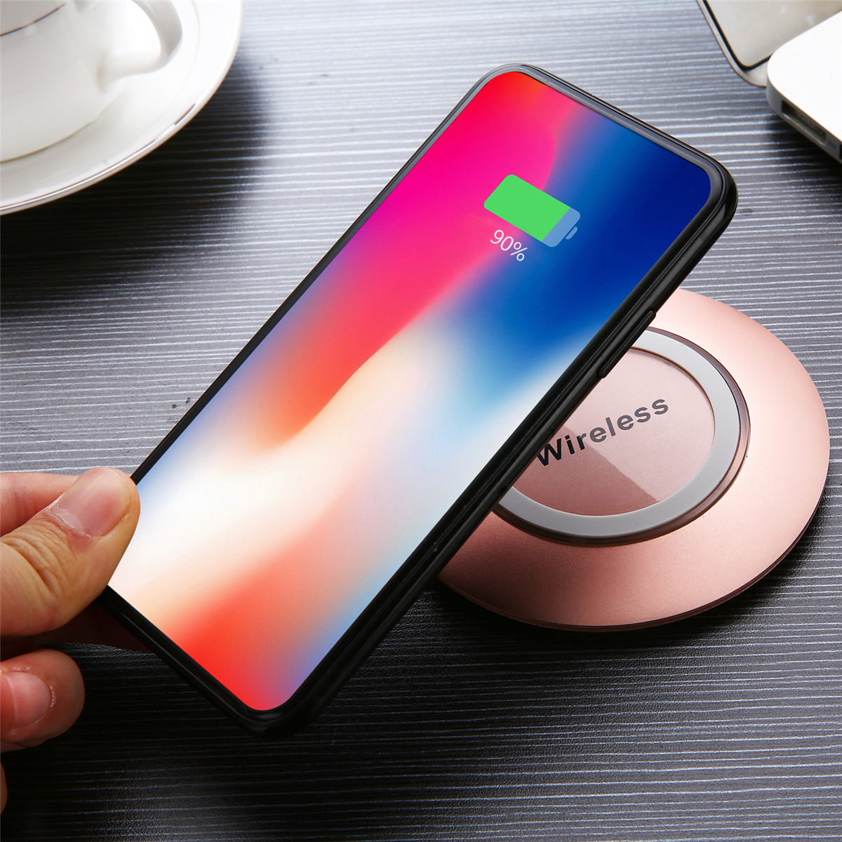 Crystal Metal LED Qi Wireless Fast Charger Pad for iPhone 8 X Plus S8 S9 Note 8