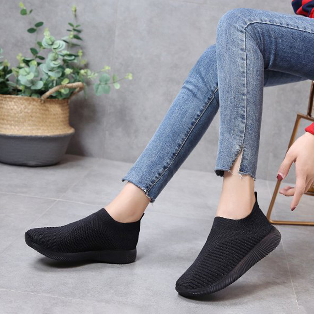 NIS Women Casual Shoes Plus Size Breathable Mesh Slip-on Vulcanize Shoes Ladies Sneakers