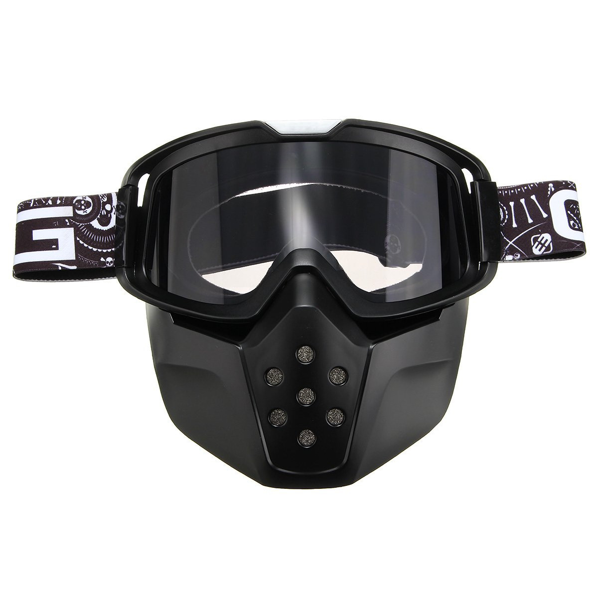 Motorcycle Ski Helmet Grey Lens Detachable Goggles Face Mask Shield Mouth Filter