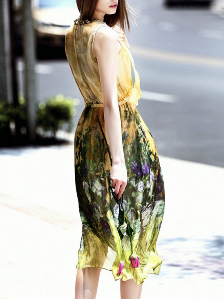 Elegant Women Floral Printed Sleeveless Mid Long Dress