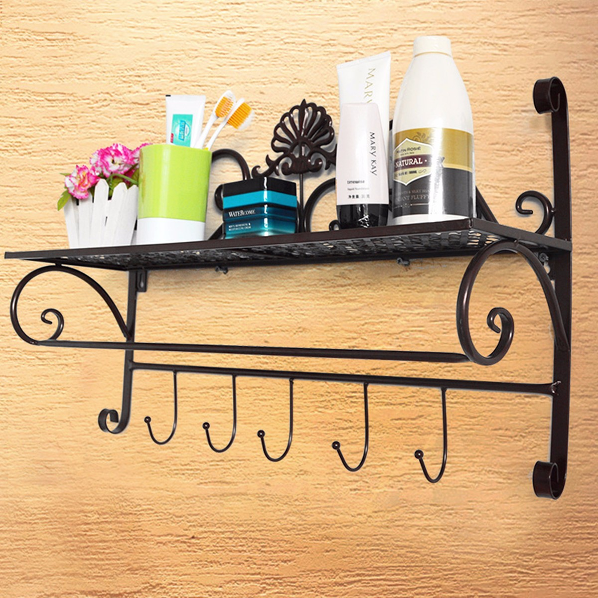 Metal Wall Mounted Shelf Coat Towel Hooks Hanger Rack Storage Holder