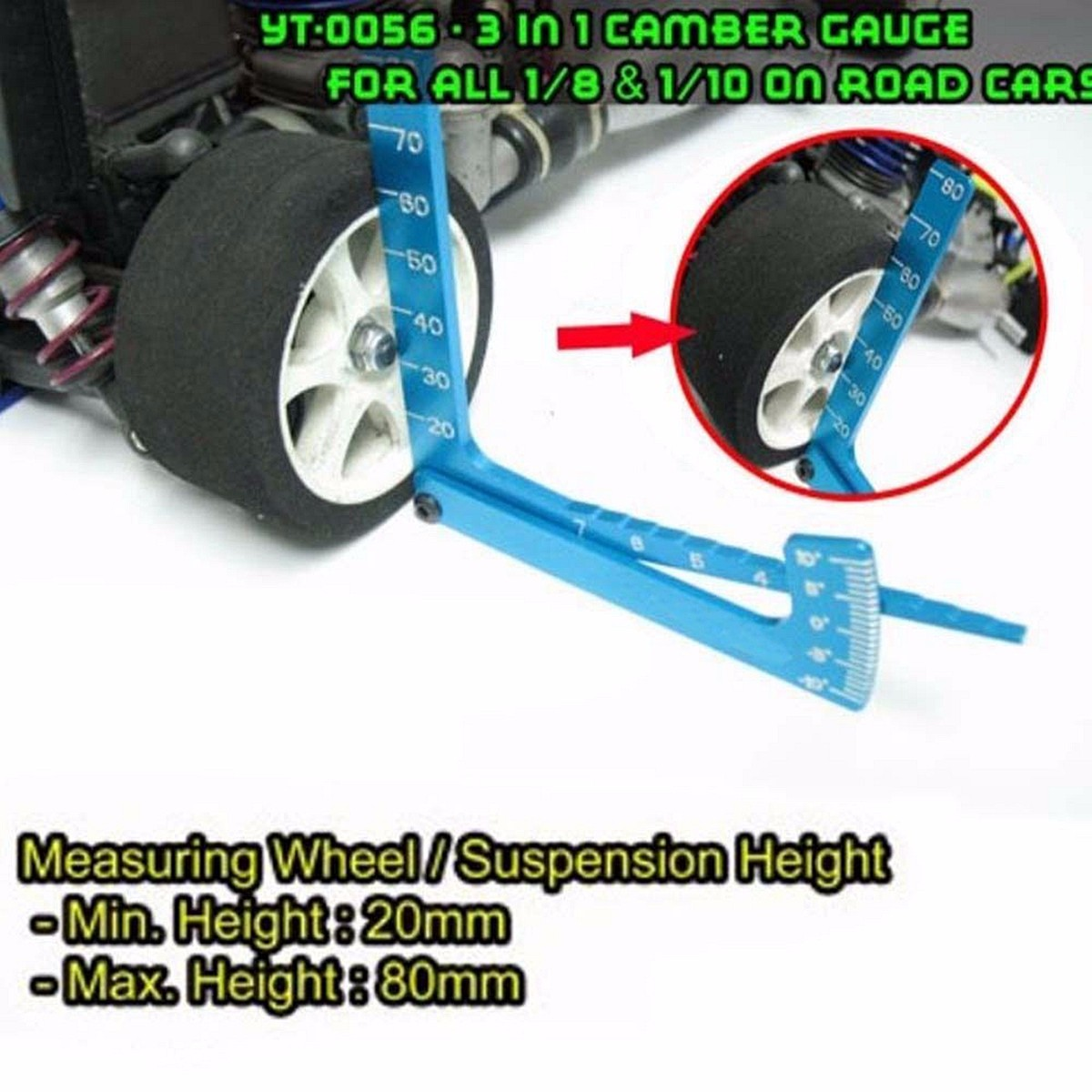 Yeah Racing 3 in 1 Camber Gauge Metal For all 1:8 1:10 On Road RC Car