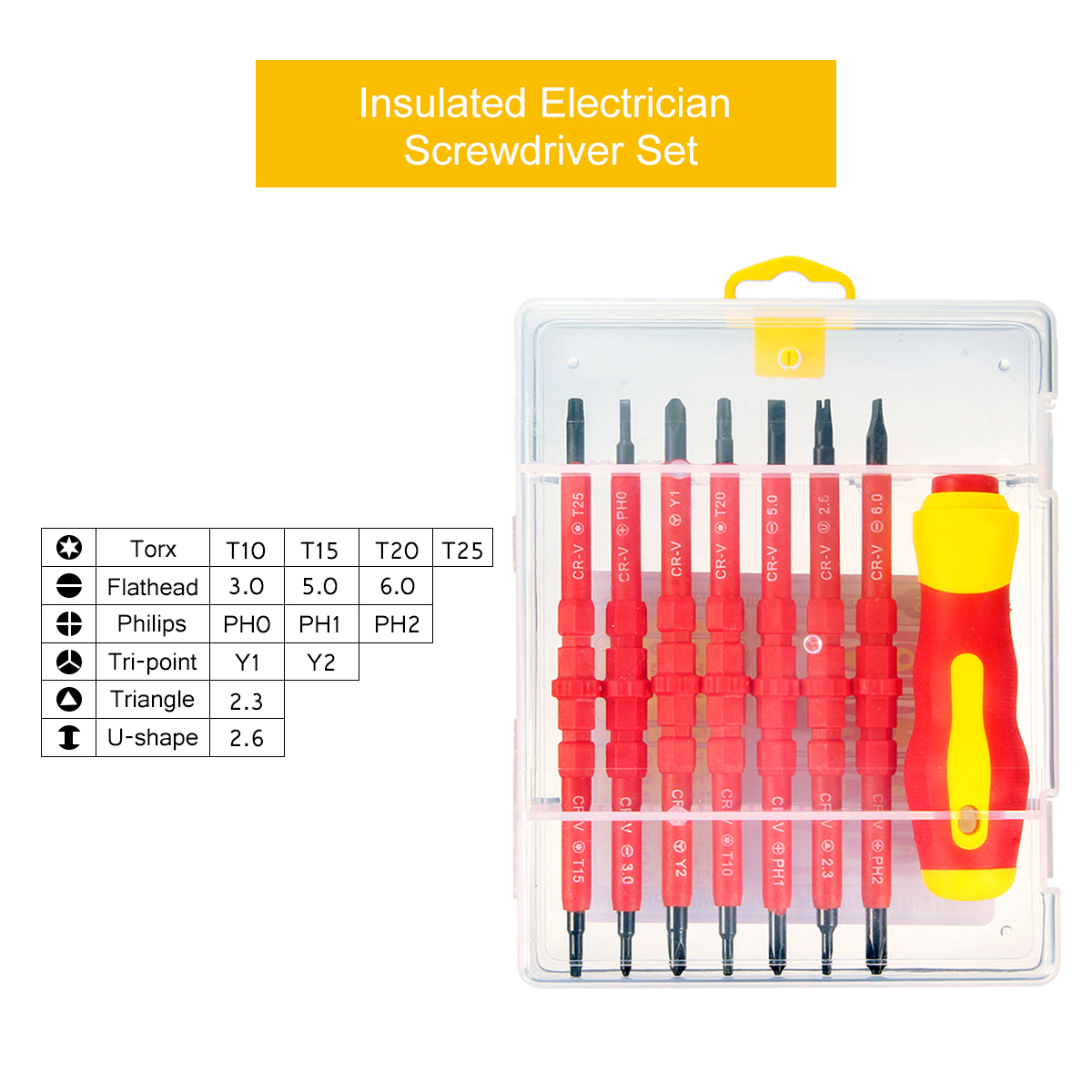 Raitool™ HT01 7pcs Electronic Insulated Hand Screwdriver Tools Accessory Set