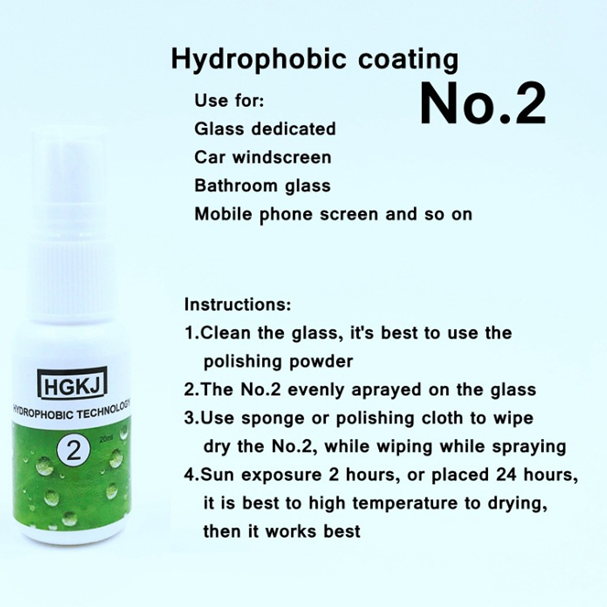 Nano Glass Hydrophobic Coating Rain Agent Auto Rearview Mirror Cloth Shoes Waterproof Agent