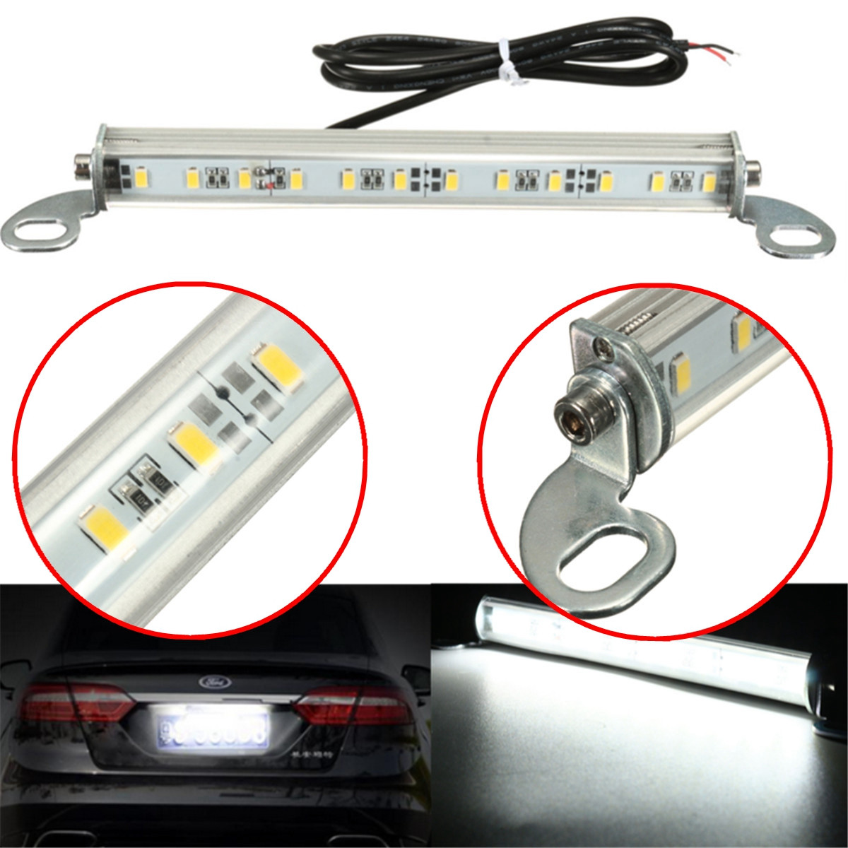Car Truck Xenon White 12 SMD LED License Plate Light 12V DC Screw Bolt-On