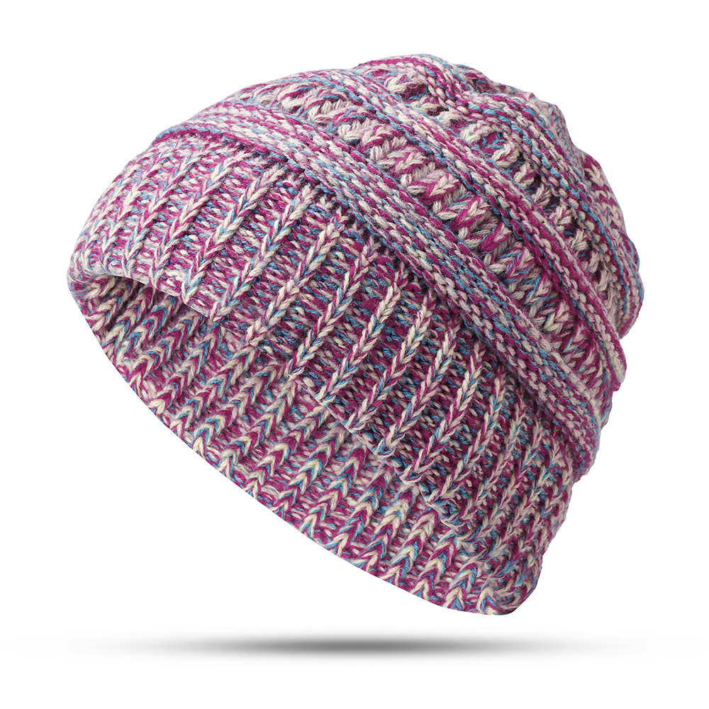 Womens Winter Cotton Knitted Ponytail Beanie Caps