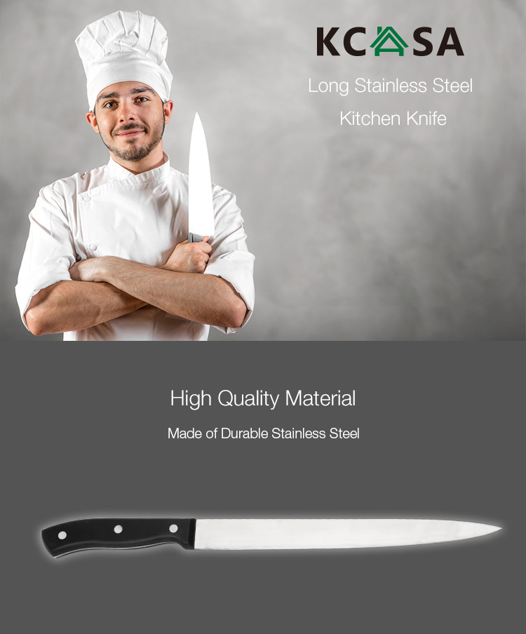 KCASA KF-13 Long Stainless Steel Knife for Fruit Meat Cheese Easy Cutting Sharp Kitchen Knife