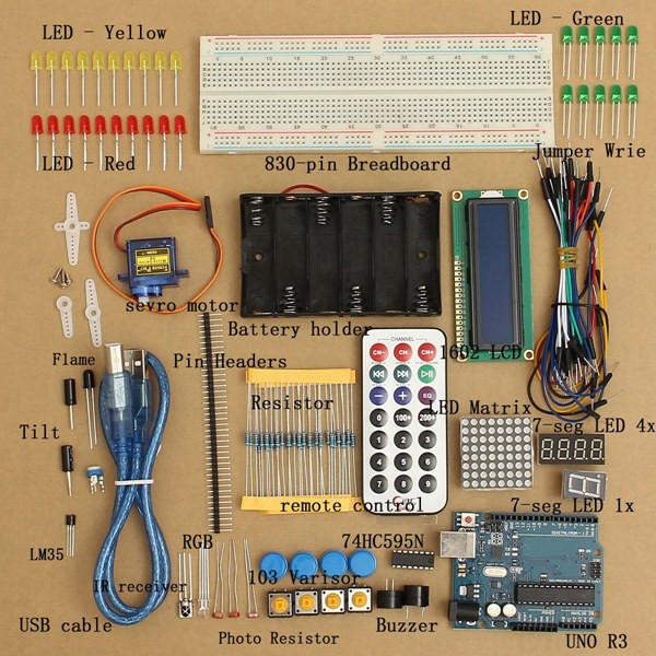 Basic Starter Learning Kit UNO R3 1602LCD Sensor Breadboard For Arduino