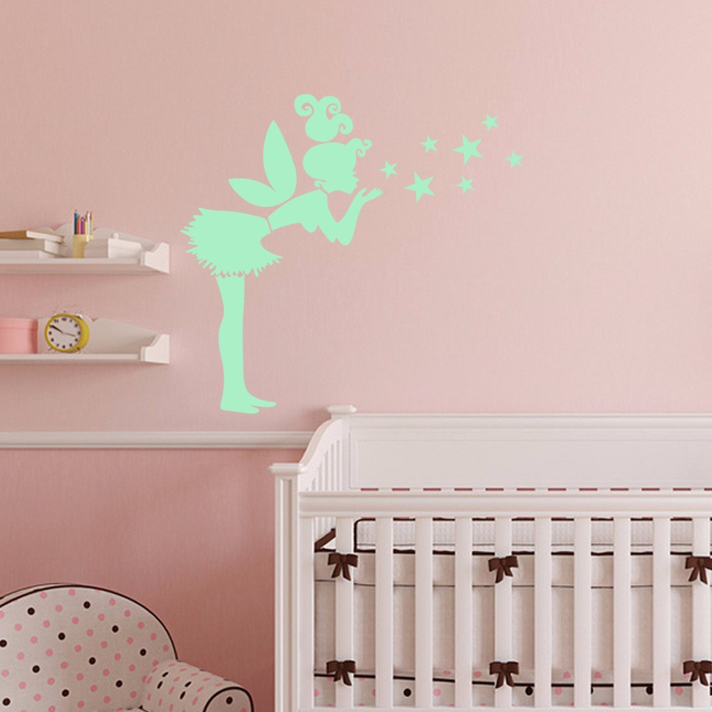 Honana DX-147 57x70cm Fluorescent Glow Angel Blew The Stars Wall Sticker
