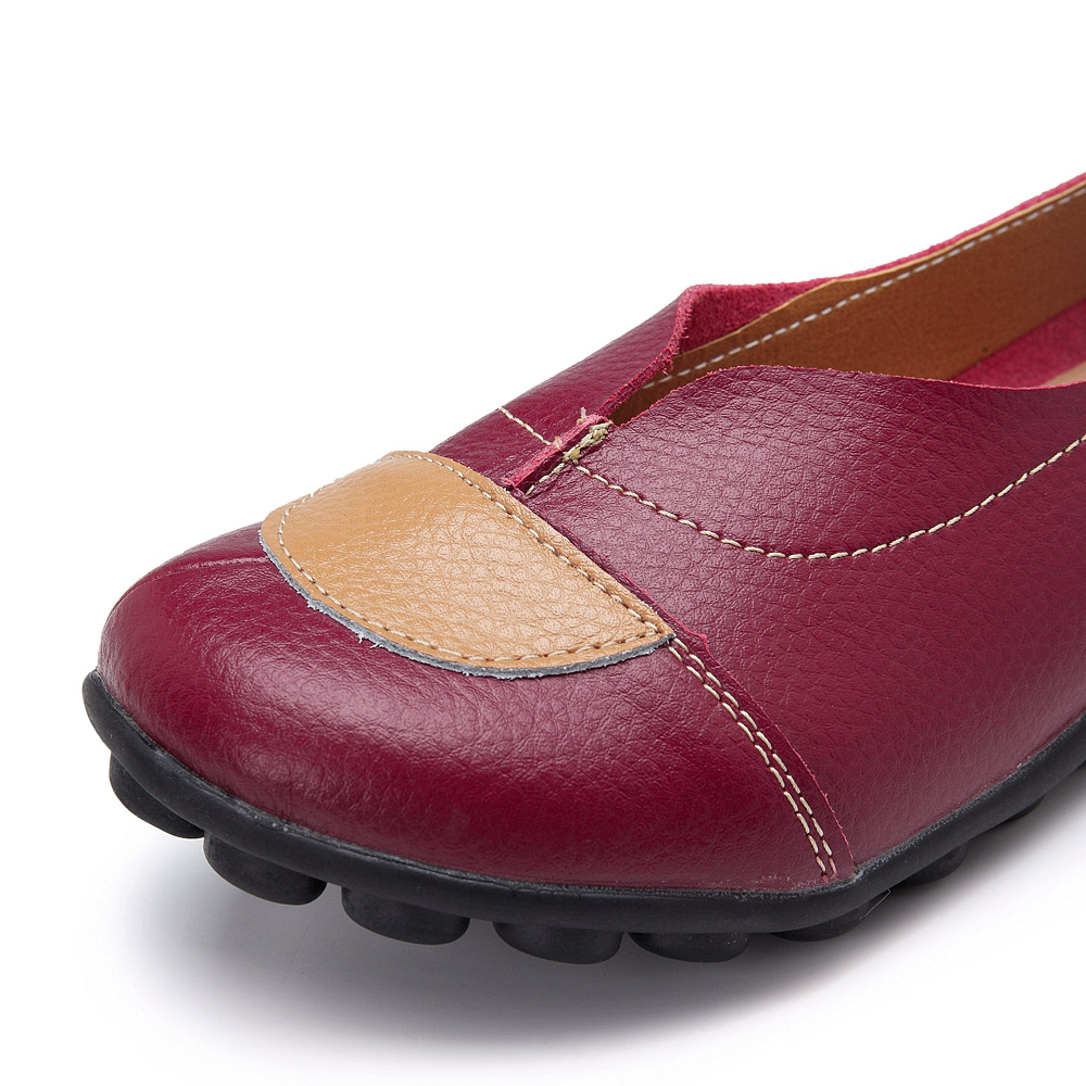 Women V Shaped Stitching Leather Casual Flat Loafers Shoes