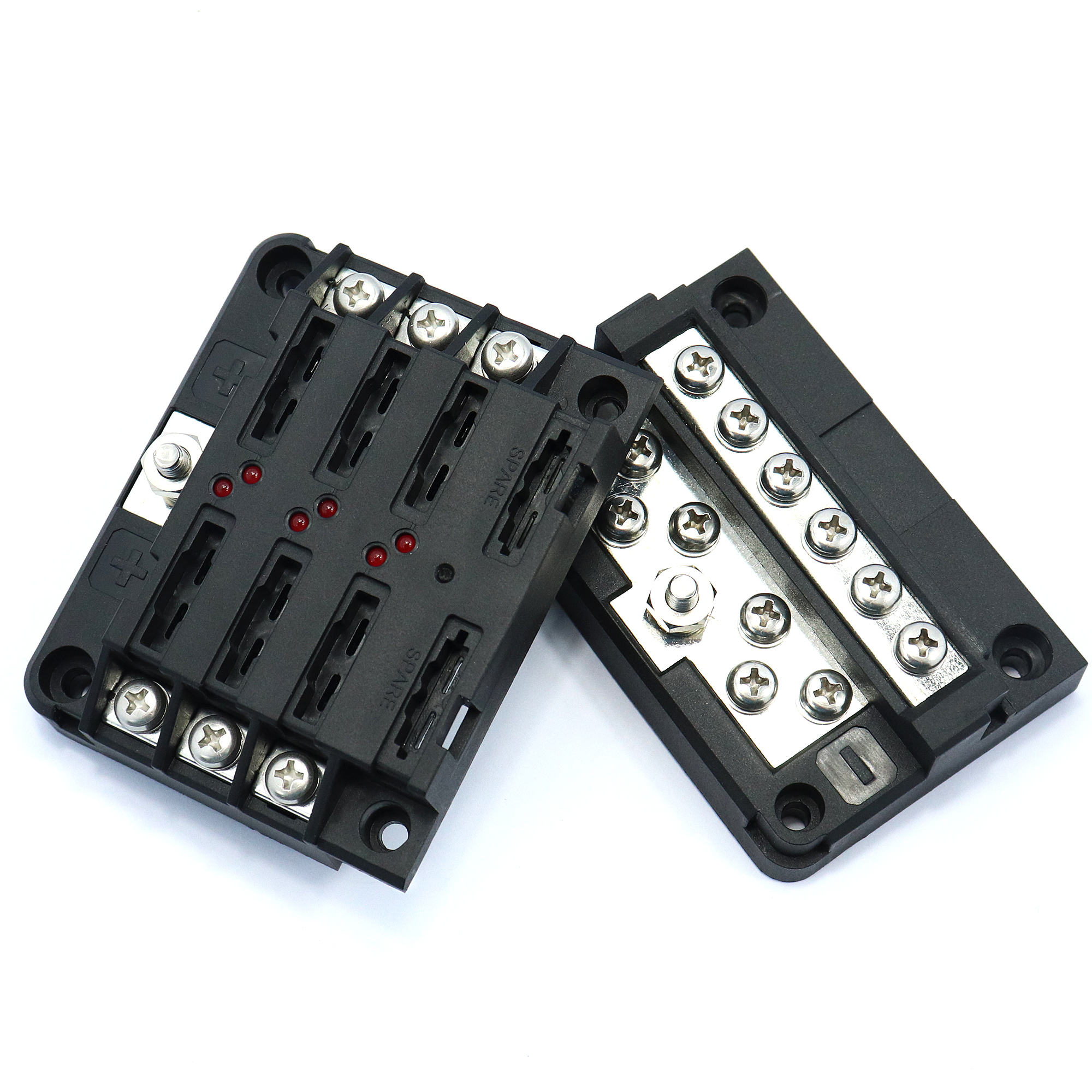 Wiring 6 Way Led Blade Fuse Box Negative Bus Bar W Cover Marine Covers Boat Car Hgv 12v 24v