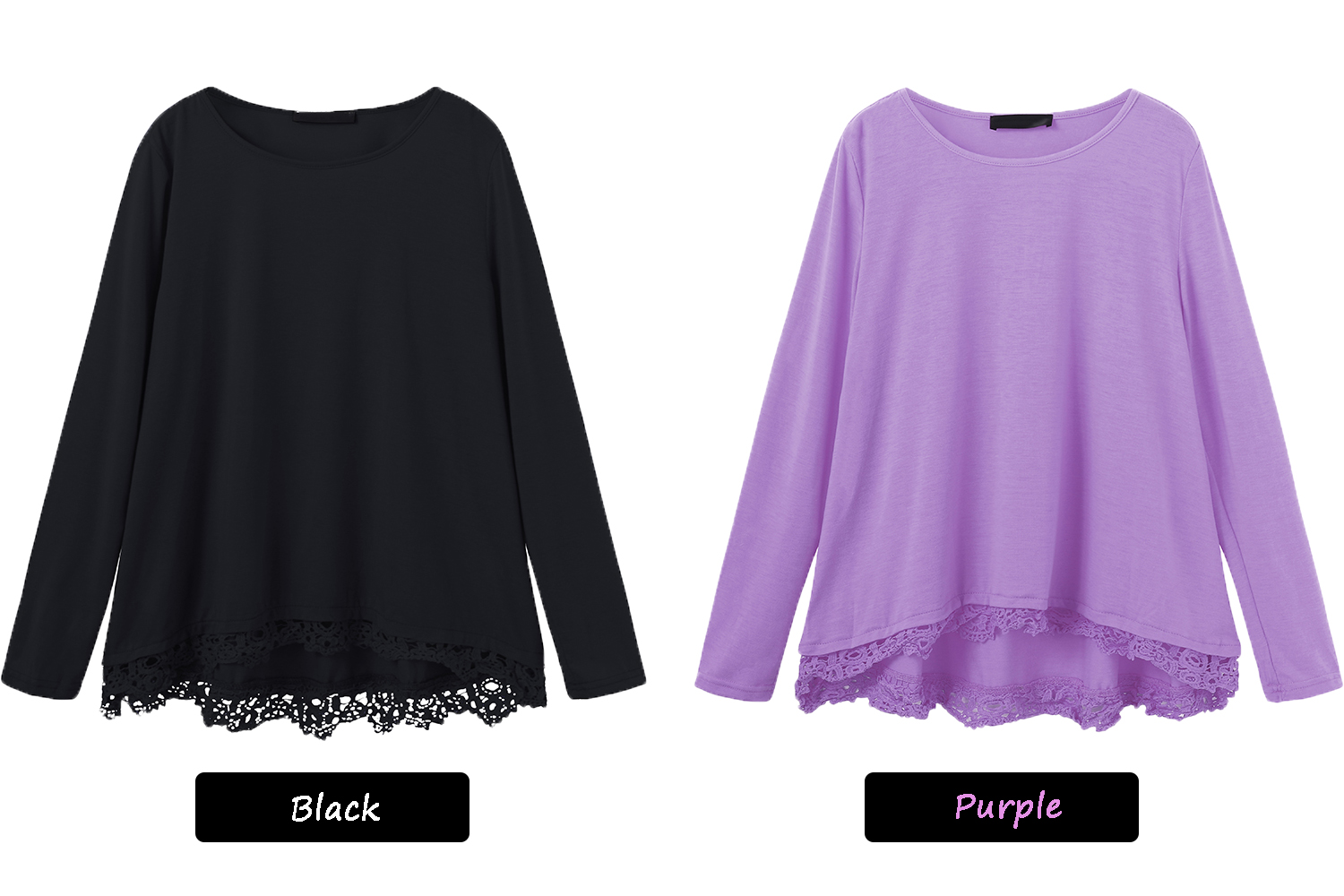Women Lace Patchwork Solid Color T-Shirts Tops