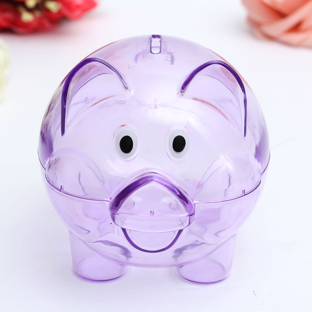 Children Kids Baby Portable Cute Plastic Pig Clear Piggy Bank Coins Box Storage Box Money Saving Case Toy Gift