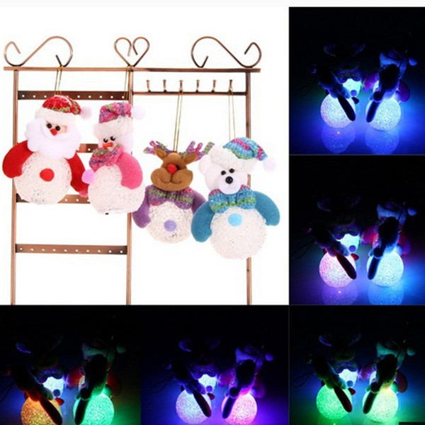 Colorful LED Snowman Santa Claus Ornament Christmas Tree Decor Hanging Light Xmas Party Gift
