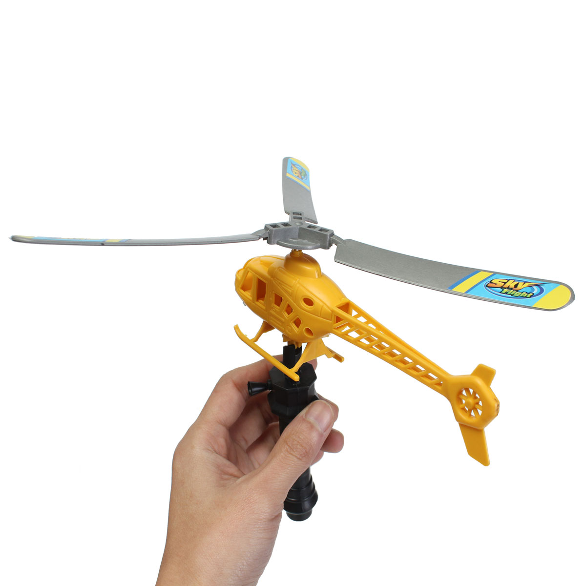 Ripcord Powered Launch Pull launcher Action Helicopter Kids Flying Toy