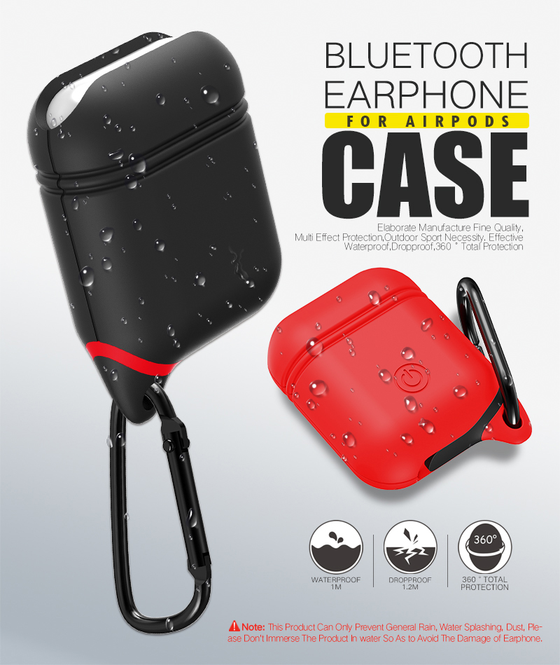 Bakeey Waterproof Shockproof Earphone Case With Hook For Apple AirPods