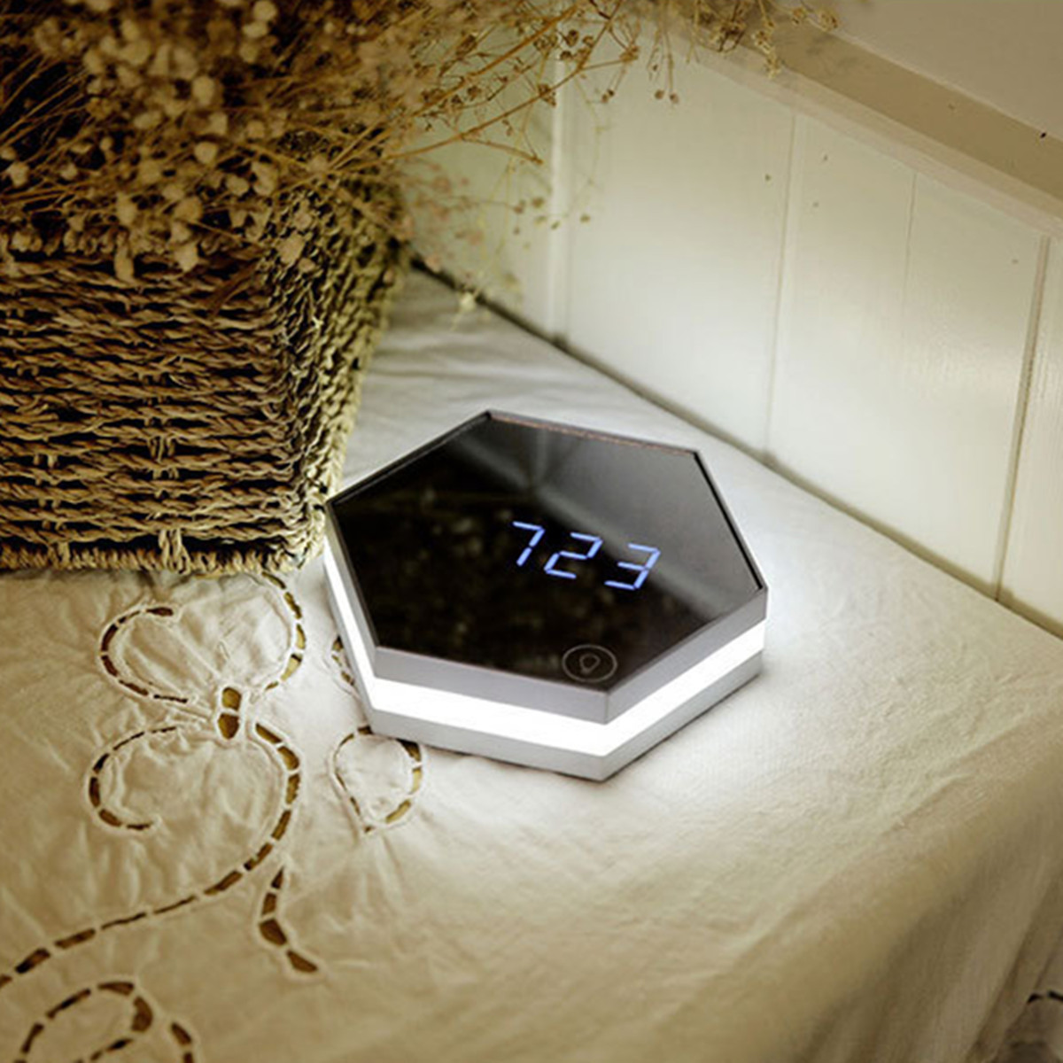 Multifunction LED Display Make Up Mirror Alarm Clock Night Light Desktop Thermometer Display Clock