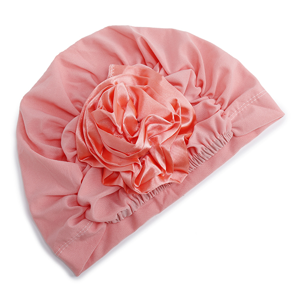 Women Chiffon Flower Breathable Beanie Hats