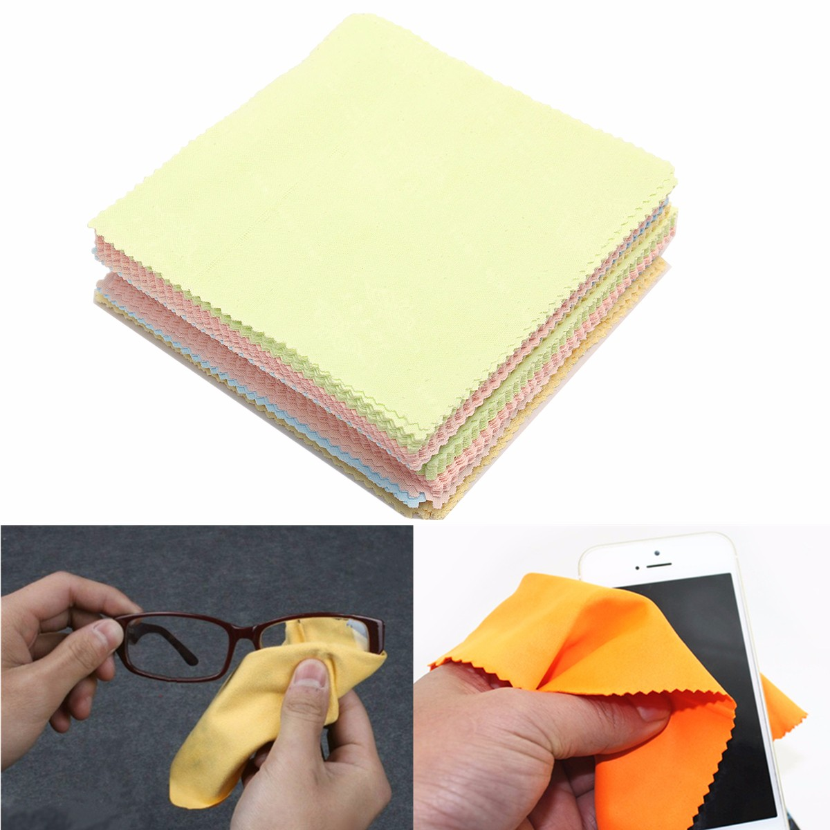 80Pcs Mixed Color Wipe Fiber Cleaning Cloth Polishing Eyeglasses Camera Phone Computer Screen Stains