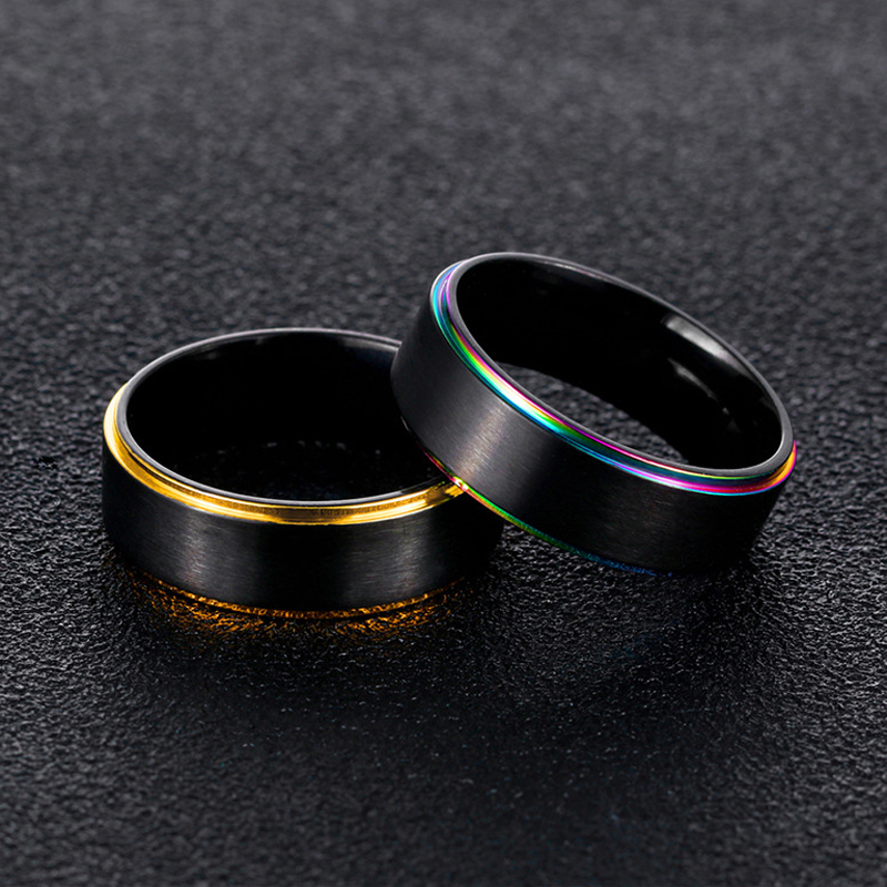 Simple Black Titanium Steel Colorful Plating Men Ring Gift