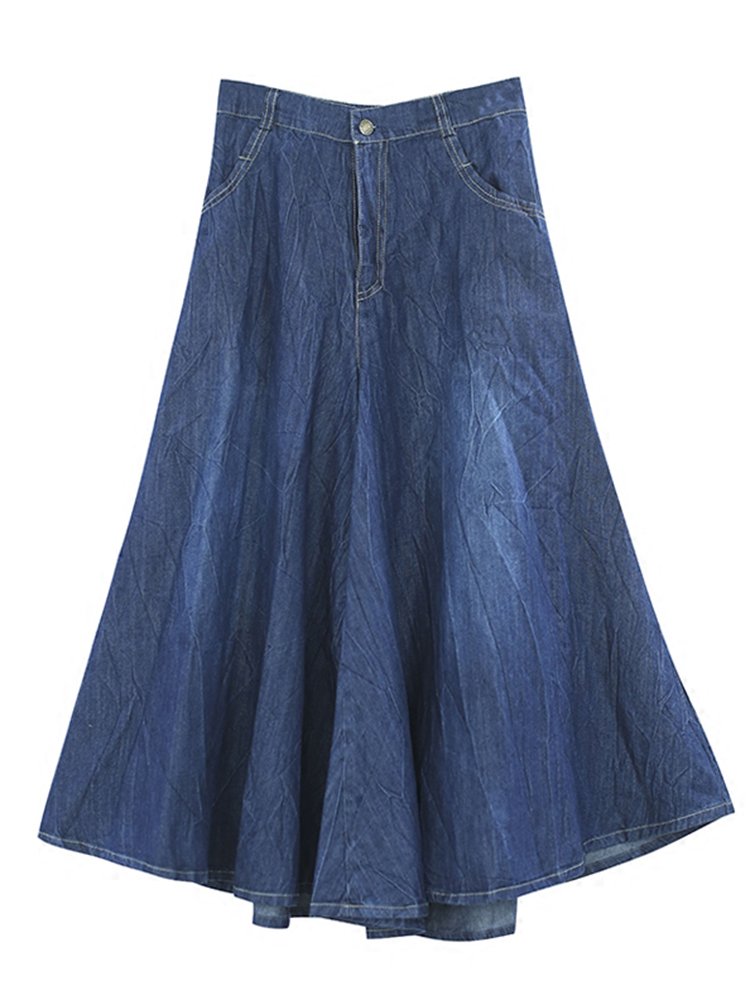 Pleated Wide Leg Denim Culottes