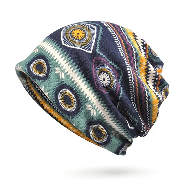 Women Print Beanie Hat Antumn Warm Multi-function Collar Scarf Casual Bonnet Cap