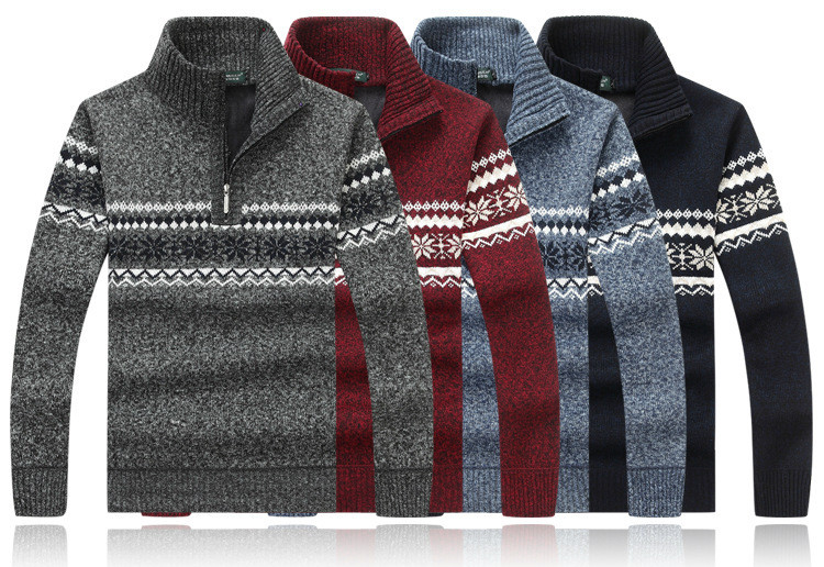 Autumn Winter Half Zip Cashmere Turtleneck Sweater Men's Thick Jacquard Warm Pullover Sweater