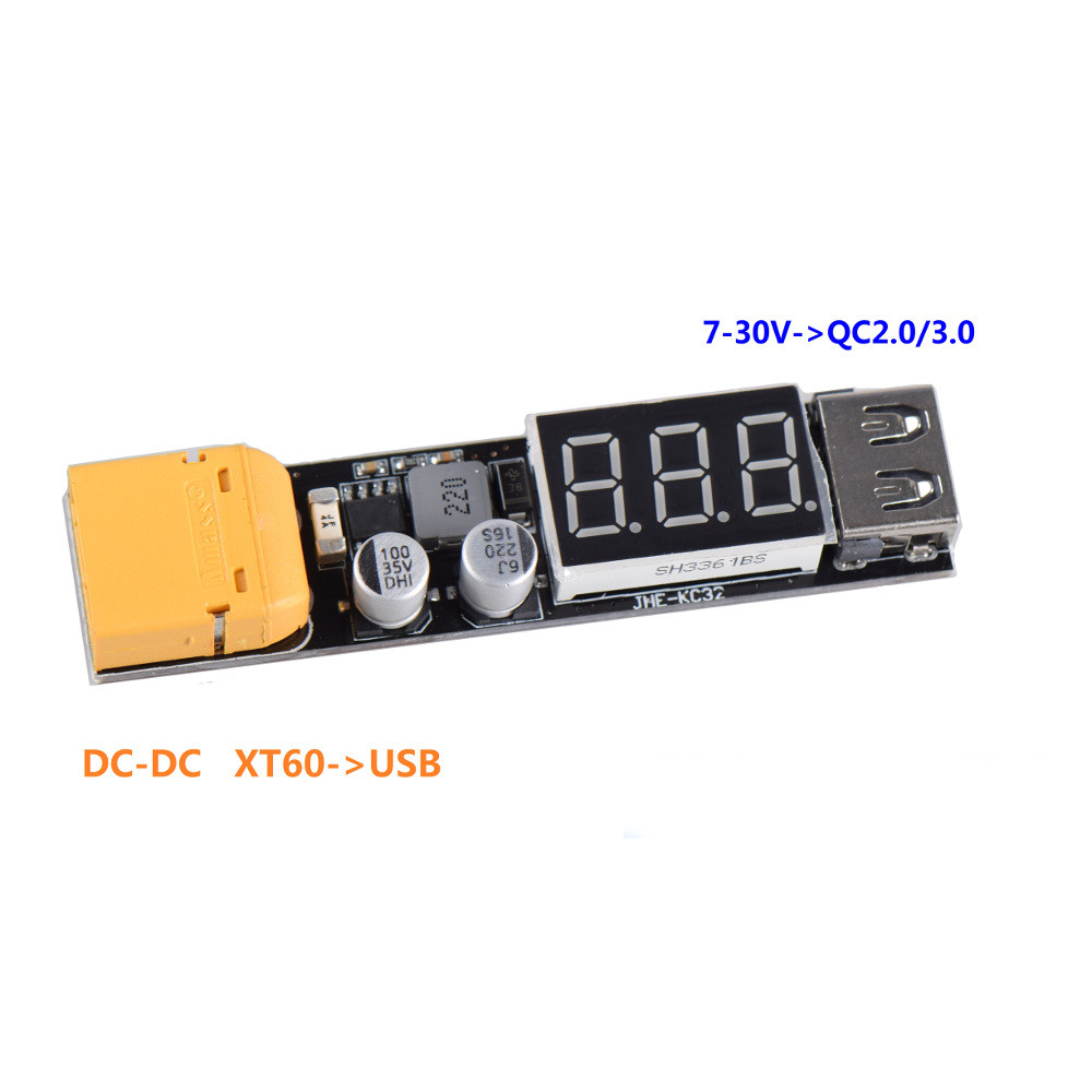 JHEMCU JHE-KC32 2-6S 7V-30V to 5V DC-DC XT60 to USB Buck Charging Module Support QC3.0 Quick Charge