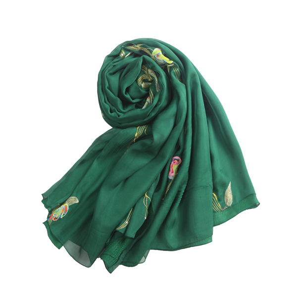 LYZA 195CM Women Double Embroidery Applique Scarves Casual Long Soft Shawl