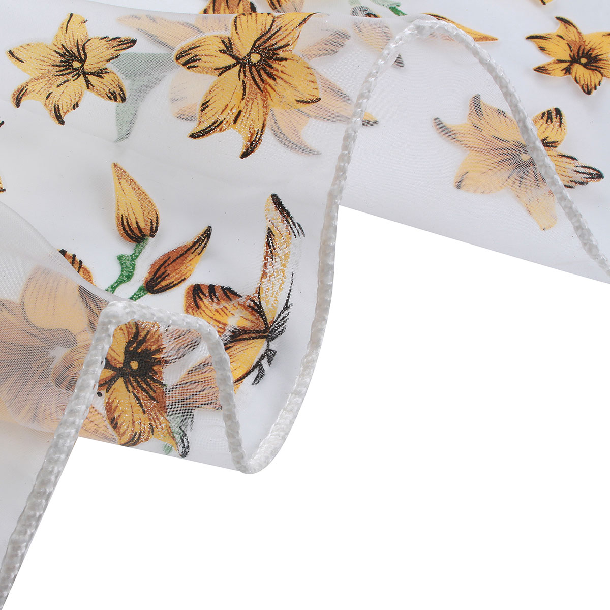 100x200cm Flowers Print Tulle Window Curtain Balcony Bedroom Bay Window Screen