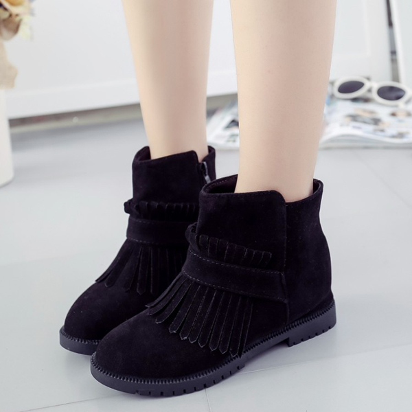 Sexy Tassels Zipper Round Toe Increased Wedge Ankle Short Boots