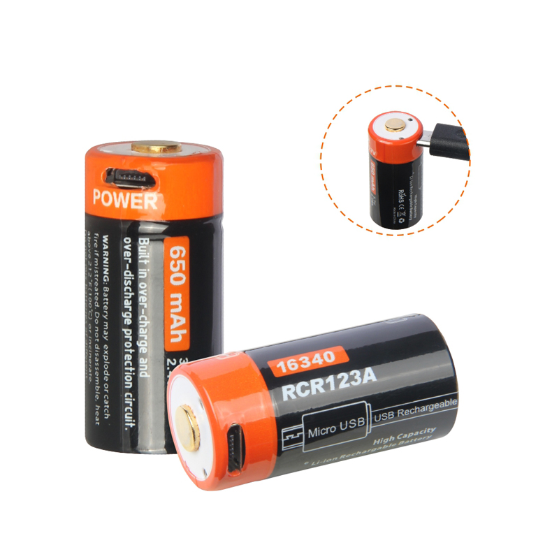 Nicron NRB-L650 650mAh 3.7V USB Rechargeable Protected 16340 Li-ion Battery with LED Indicator