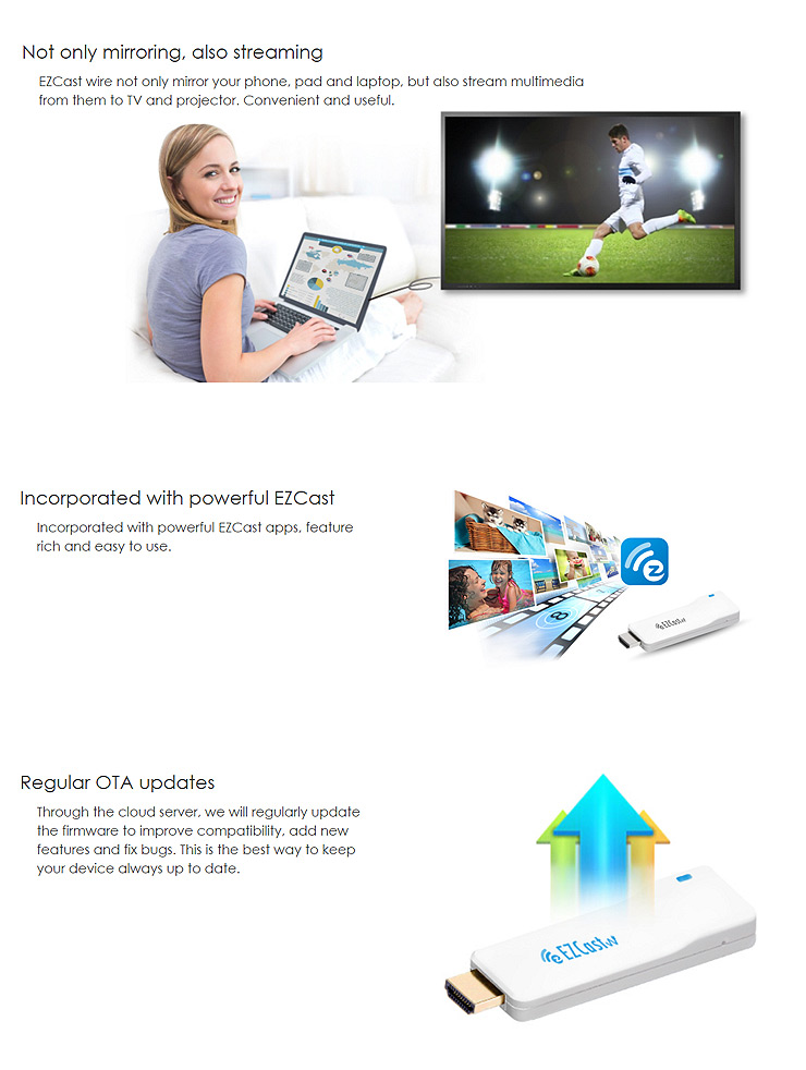 EZCast 1080P Universal Wired Display Dongle for iOS Android Windows for Mac Devices