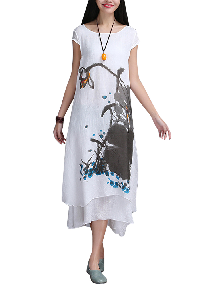 Folk Style Ruffles Ink Printed Linen Loose Dress For Women