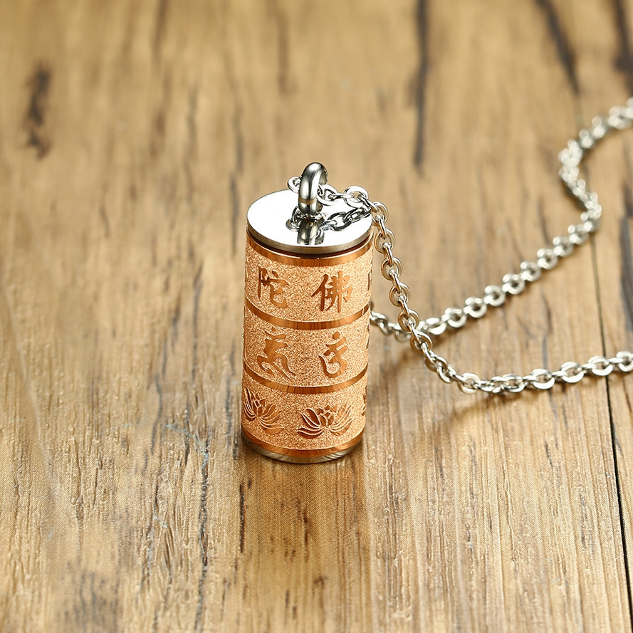 Buddhist Six-Word Mantra Stainless Steel Ash Holder Perfume Box Memorial Cremation Urn Necklaces