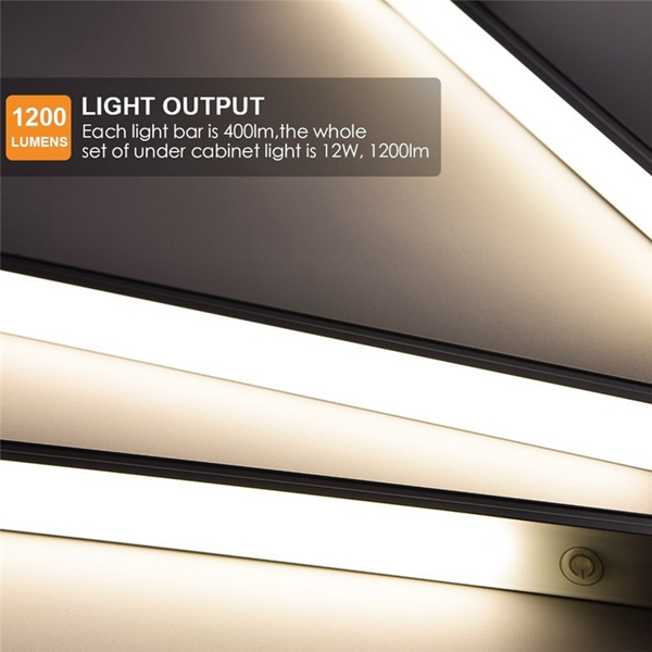 3pcs 4W 28 LED Cabinet Light Bar Closet Lamp Kit USB Touch Dimmable Warm White for Home Kitchen