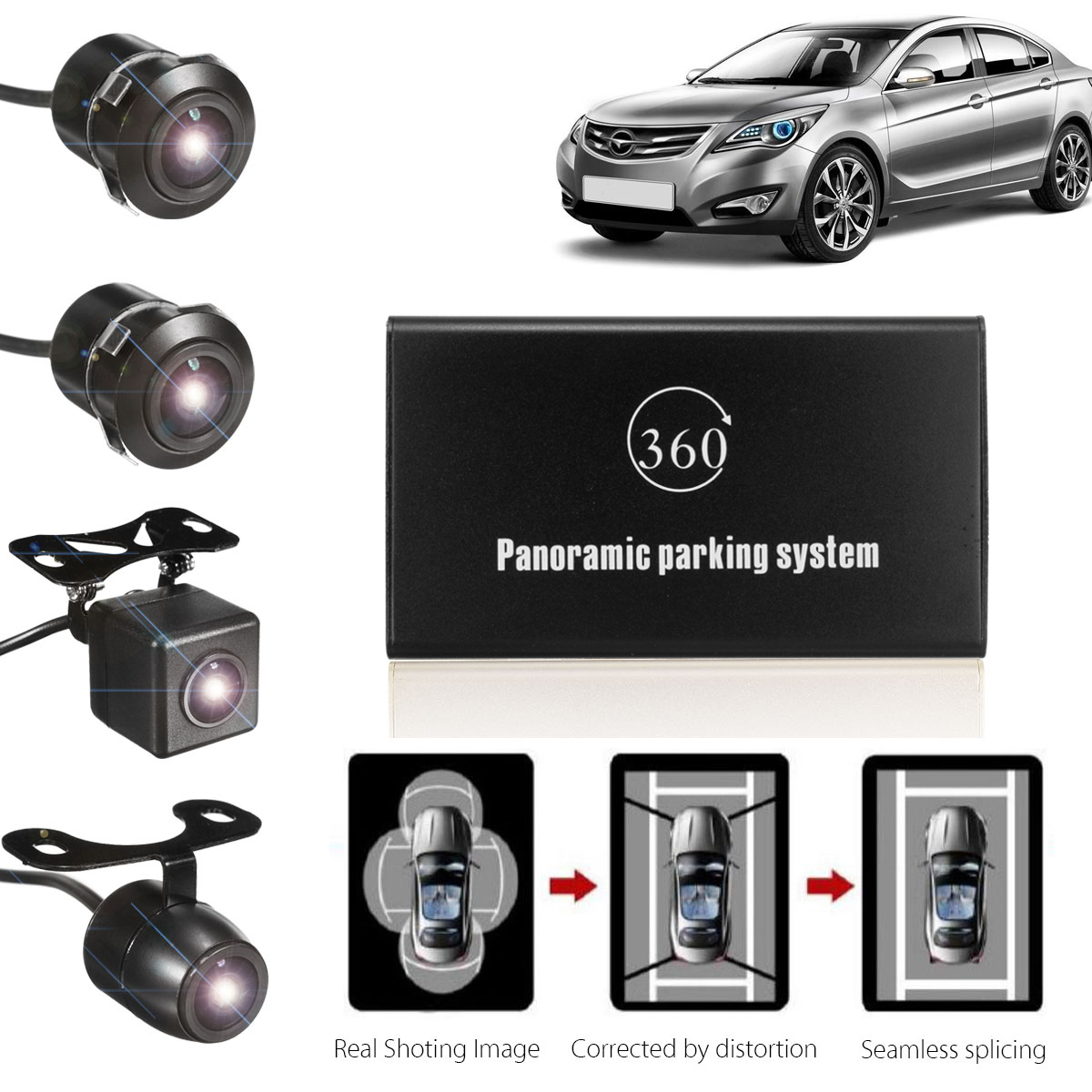 360 Degree Bird View Panoramic System 4 Camera Car DVR Recording Parking Rear View Cam