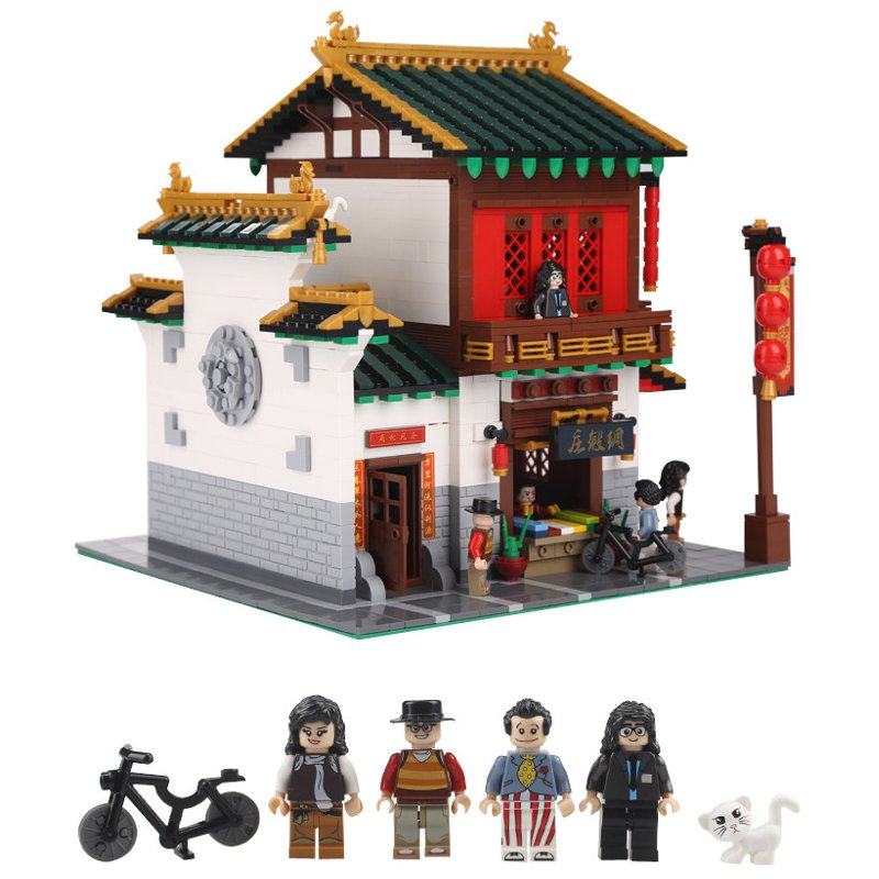 Chinese Style The Chinese Silk and Satin Store Set Building Blocks Bricks DIY Toys Model 2787Pcs