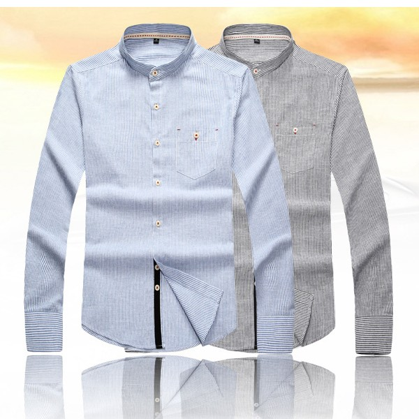 Mens Spring Autumn Striped Casual Business Stand Collar Fashion Long Sleeve Dress Shirt