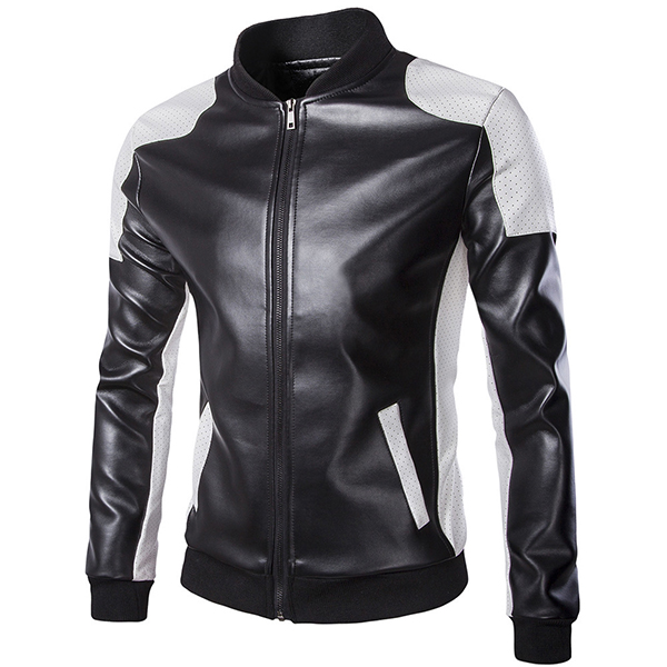 Mens PU Leather Fashion Black White Stitching Motorcycle Biker Jacket Baseball Collar Coat