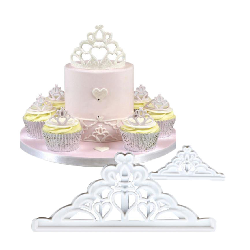 2pcs Crown Set Plastic Fondant Cutter Cake Baking Mold Biscuit Cookie Cupcake Decorating Set Sugarcraft Cake Topper Bakeware Decorating Tools