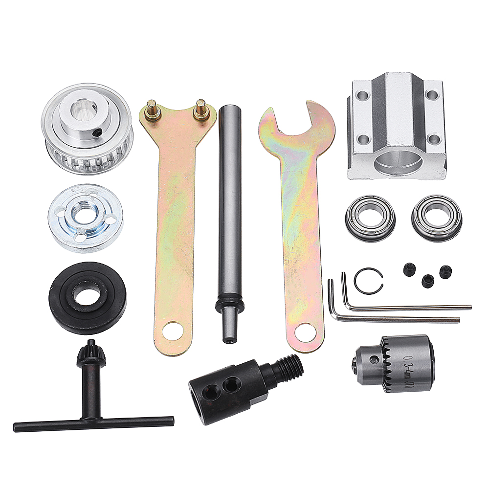 Machifit No Power Spindle Assembly Small Lathe Accessories Trimming Belt JTO/B10/B12/B16 Drill Chuck Set 44