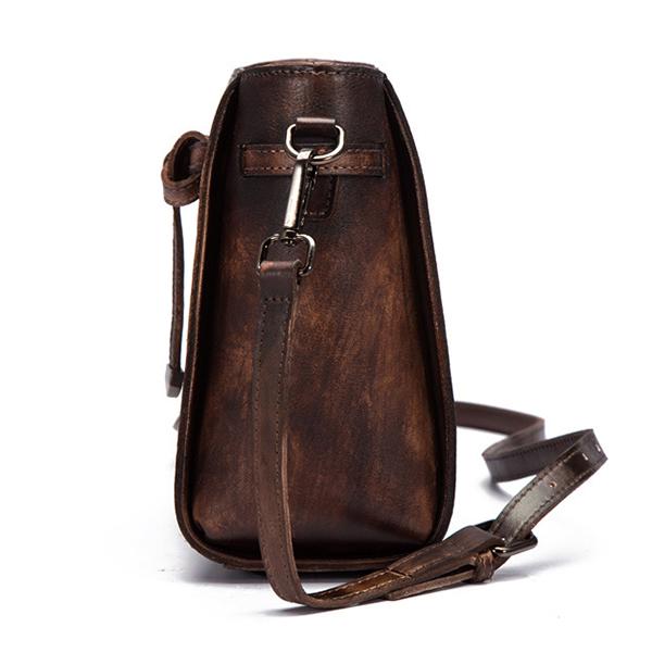 Brenice Women Cowhide Bucket Bag Retro Belt Crossbody Bag