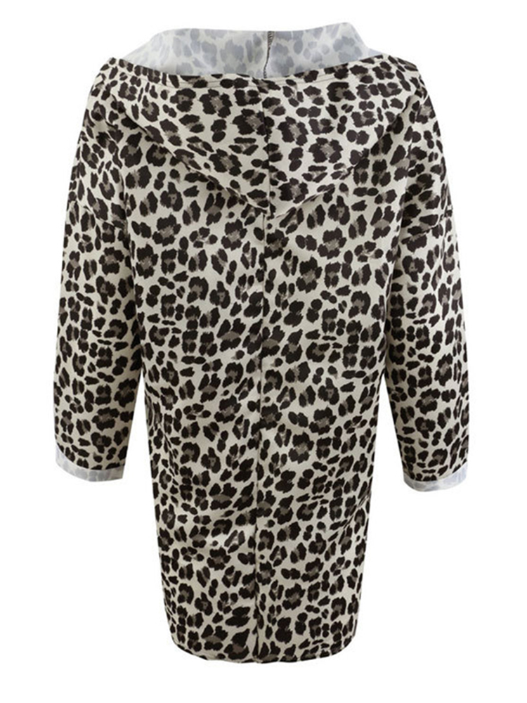 Women Trendy Leopard Print Hooded Outwear Coats