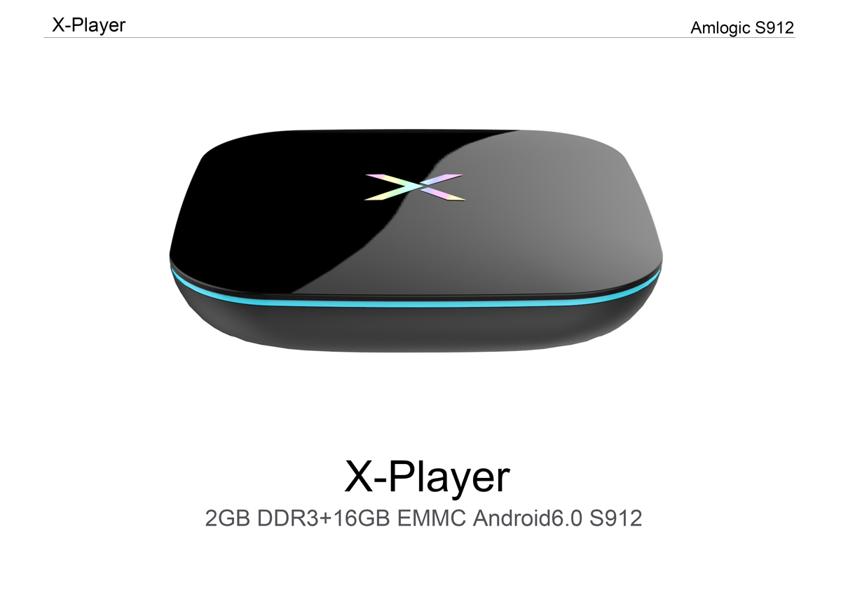 X-Player Amlogic S912 Octa-core 2G DDR3 RAM 16G eMMC ROM Android 6.0 Dual Band WiFi 1000M Gigabit LAN HD 2.0 4Kx2K 60fps bluetooth 4.0 HDR VP9 H.265 HEVC Dolby DTS Android TV Box
