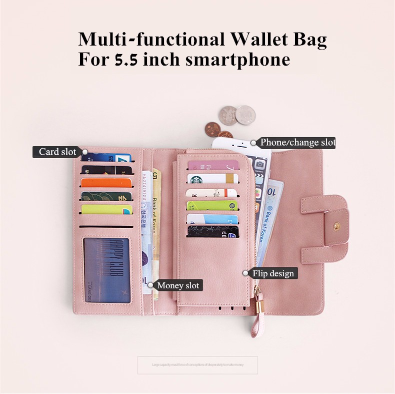 Women's Wallet Long Style Multi Card Slots Three Folding Matte Leather Bag For iPhone 7Plus 6sPlus