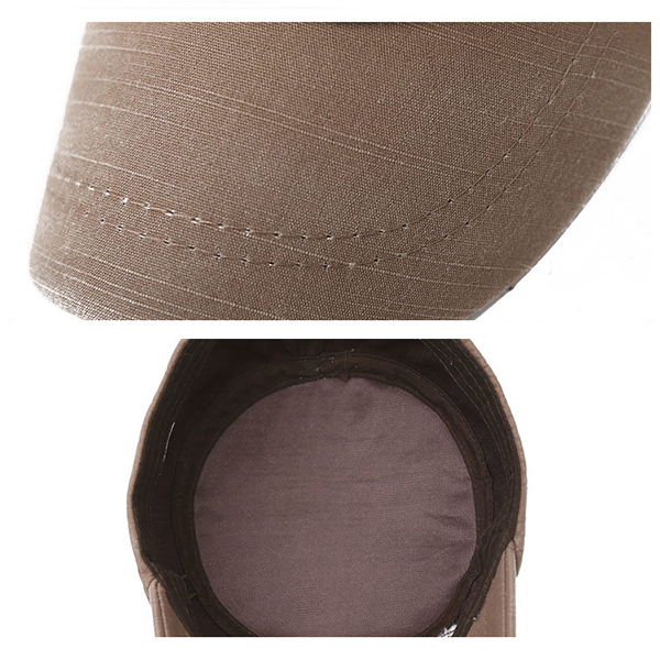 Mens Washed Cotton Solid Flat Top Cap Outdoor Military Sunshade Cap Hat Adjustable