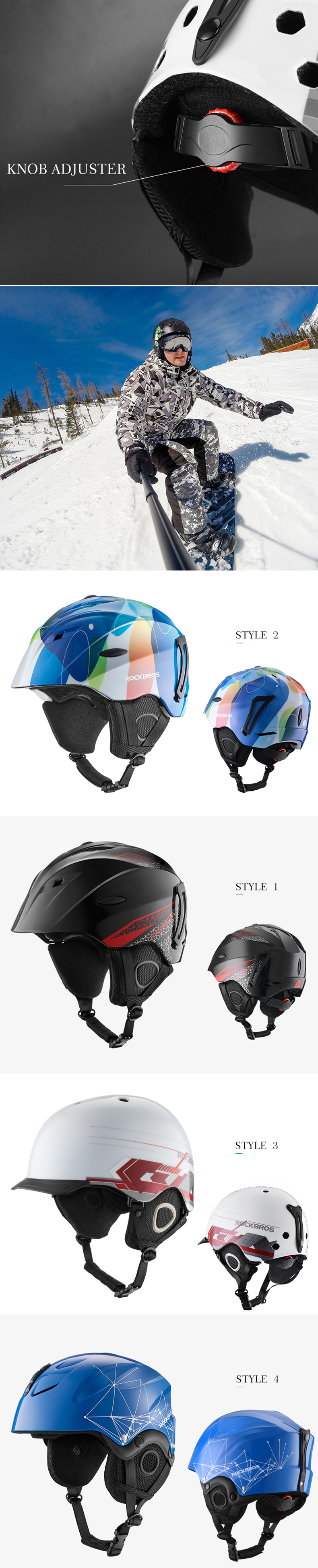 ROCKBROS Bike Integral Cast Snowboard Helmet Thermal Ultralight Breathable Cycling Skiing Helmet